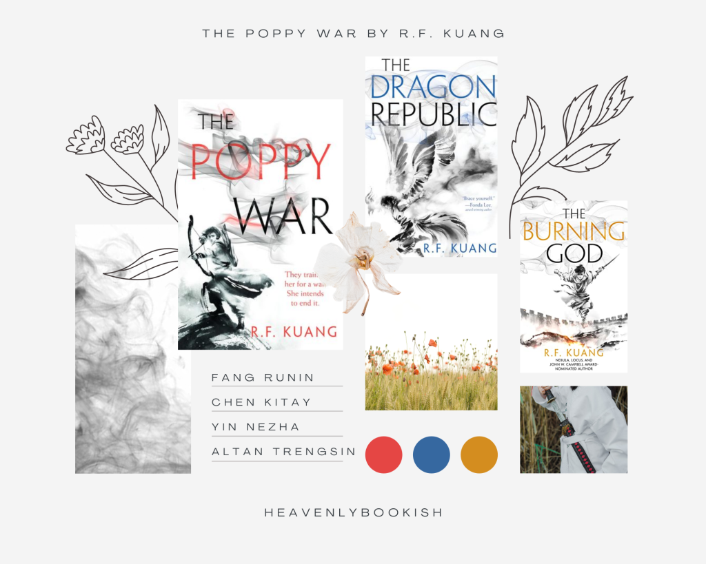 Moodboard made for The Poppy War by R.F. Kuang