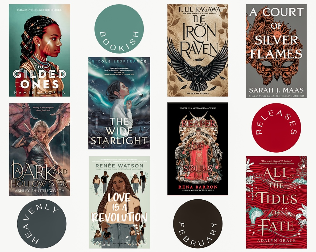 Blog picture February releases I'm excited for with all the covers of the books.